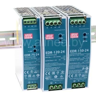 Mean Well EDR-75/120/150Вт — 12/24/48В. Мощные БП на DIN-рейку.
