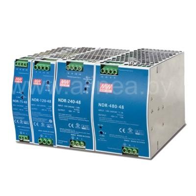 Mean Well NDR-75/120/240/480Вт — 12/24/48В. Мощные БП на DIN-рейку.