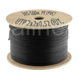 Кабель UTP (U/UTP) 2х2х0,52 Cat5e OUTDOOR (для внеш. прокл. PE, PVC/PE), катушка 305/500м